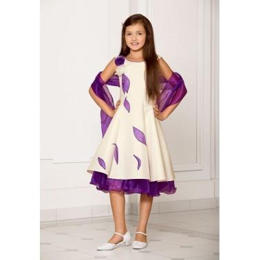 81848a3838358 Robe de ceremonie pour enfant ivoire et violet