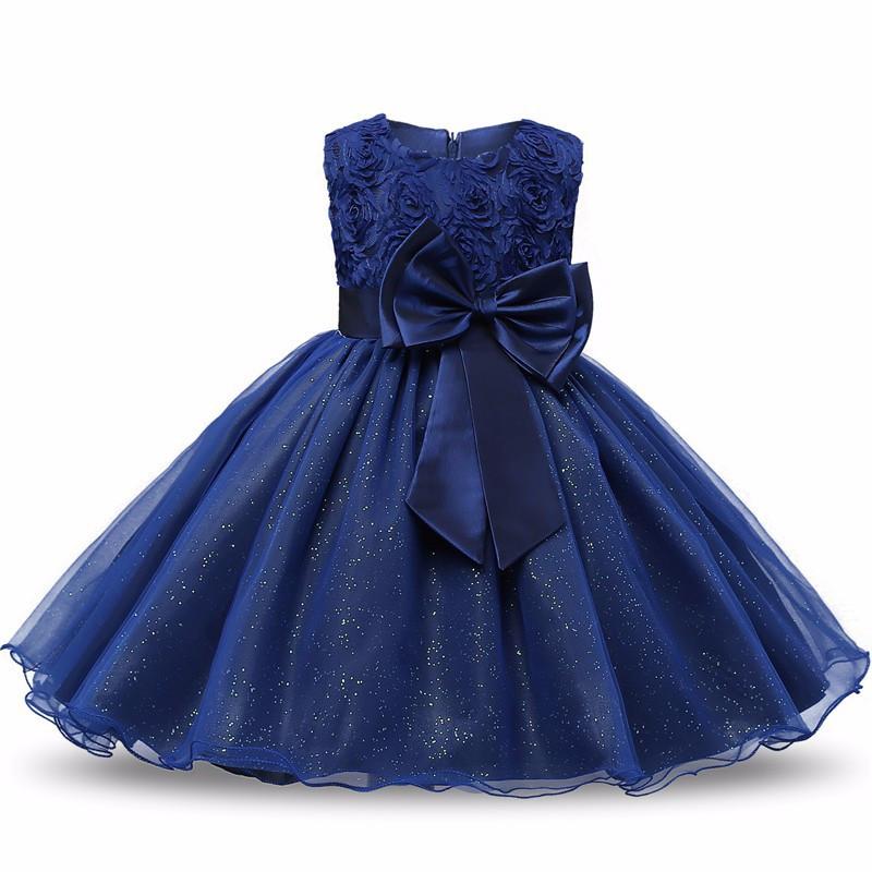 8b728504510 Robe fille cérémonie Jasmine bleu nuit