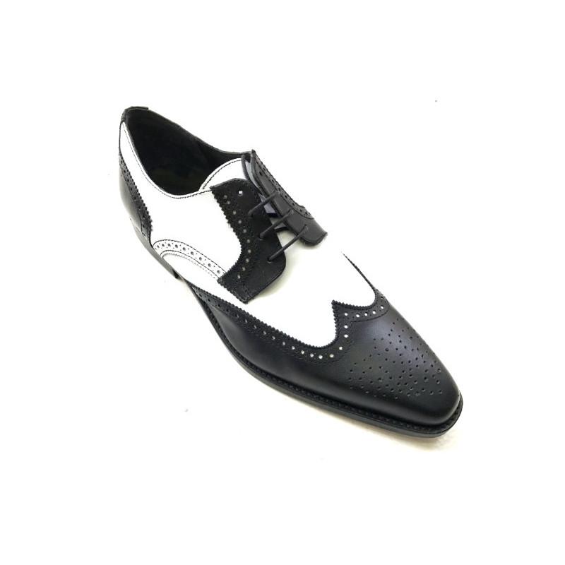 90cbca1f9b8f12 Chaussure homme JEFF27 bicolore Noir et blanc. Loading zoom