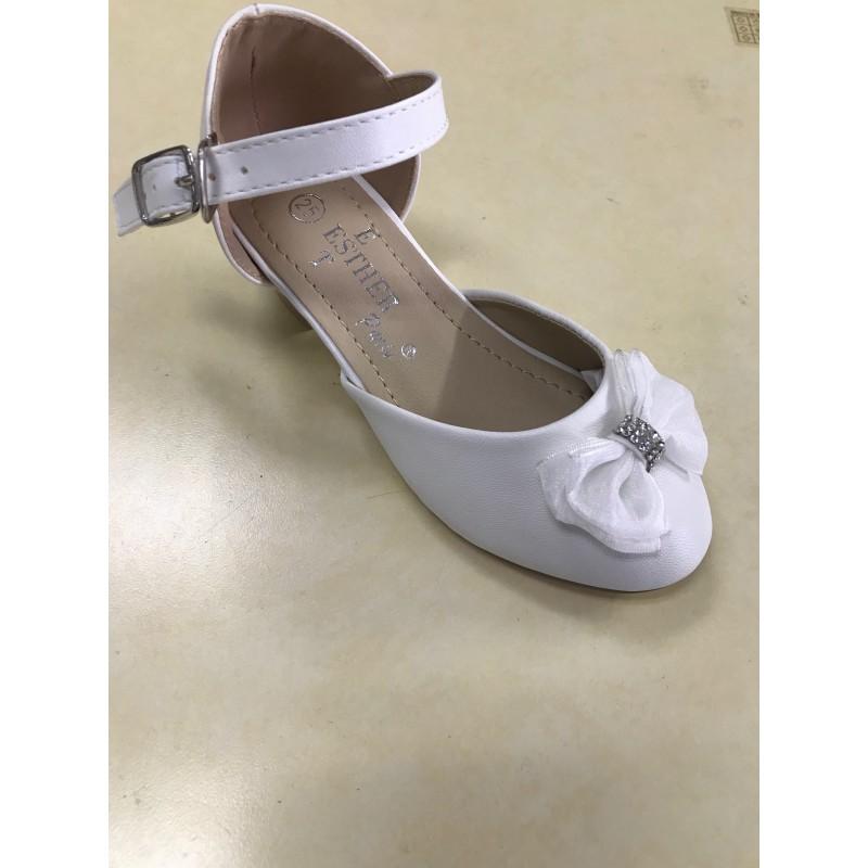 nouveau produit 4ab1b a7c92 Chaussure fille cérémonie blanche a noeud