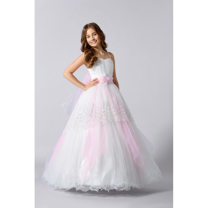 f0d9889ee6b44 Robe enfant mariage blanche et rose pale - ceremonie express