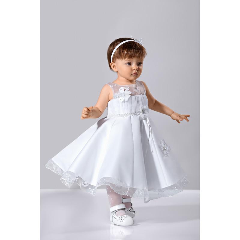robe bapteme blanche et rose