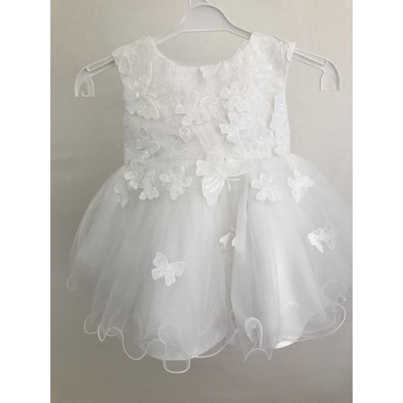 Robe bebé selena blanc bapteme et mariage