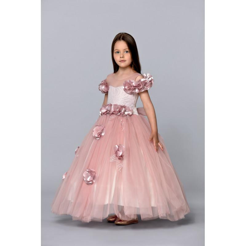 Robe fille de cérémonie vieux rose longue